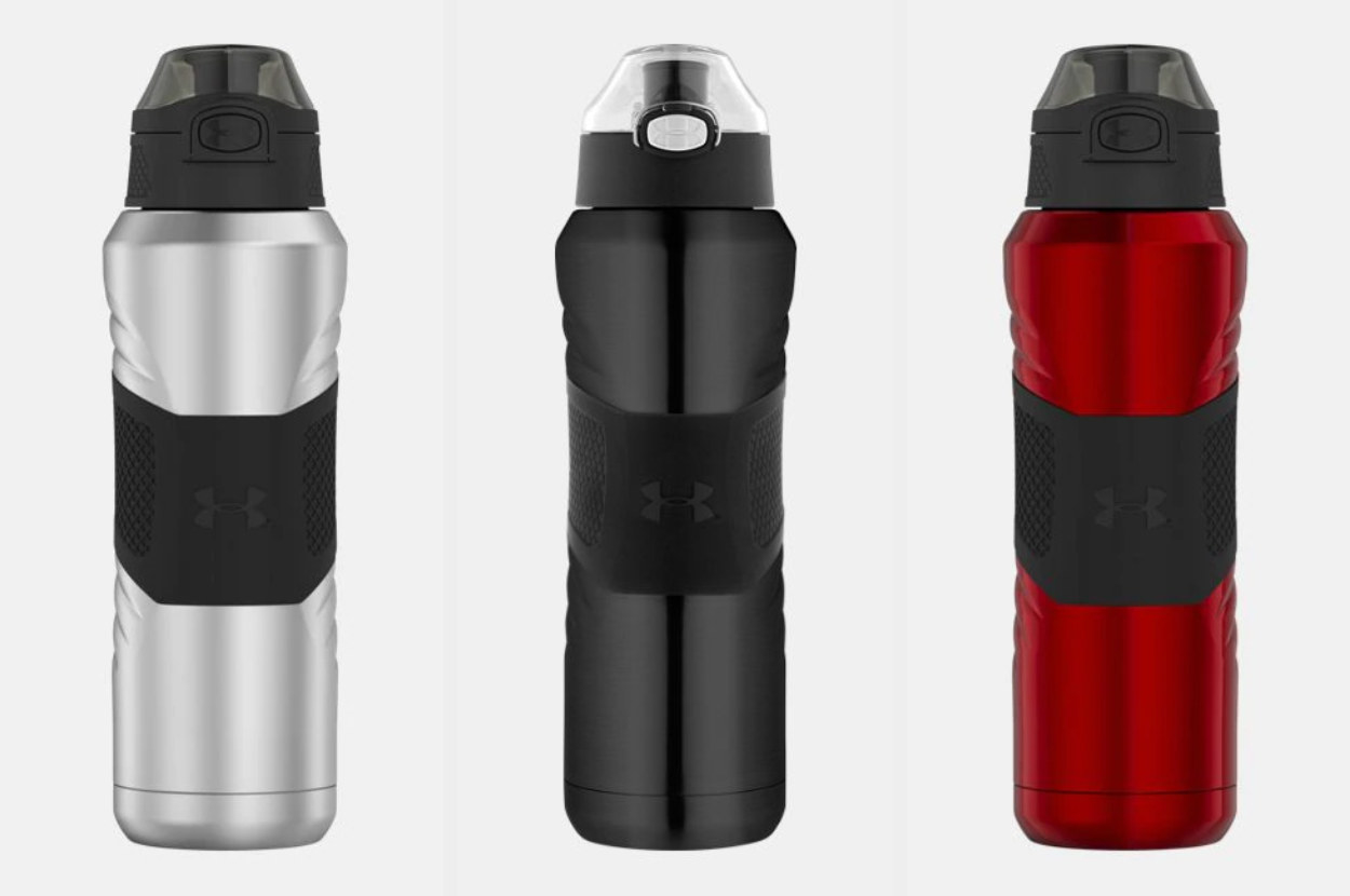 Three metal water bottles in silver, black, and red