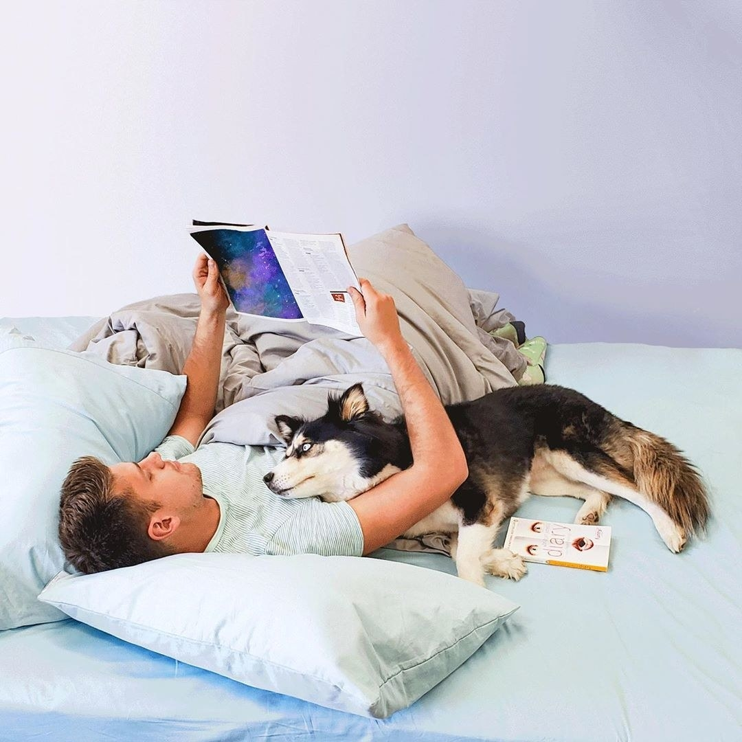 a model in bed on arctic blue sheets reading a magazine and cuddling with their dog