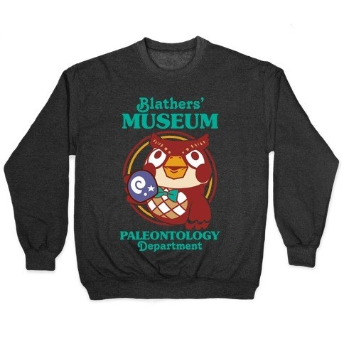 """black crewneck sweatshirt with the owl from animal crossing that says """"blathers' museum paleontology department"""""""