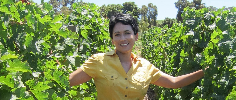 Carmen Stevens in a vineyard