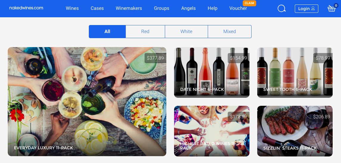 Screenshot of wine cases page
