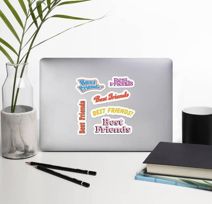 """Shop BuzzFeed """"Best Friends"""" stickers on a laptop"""