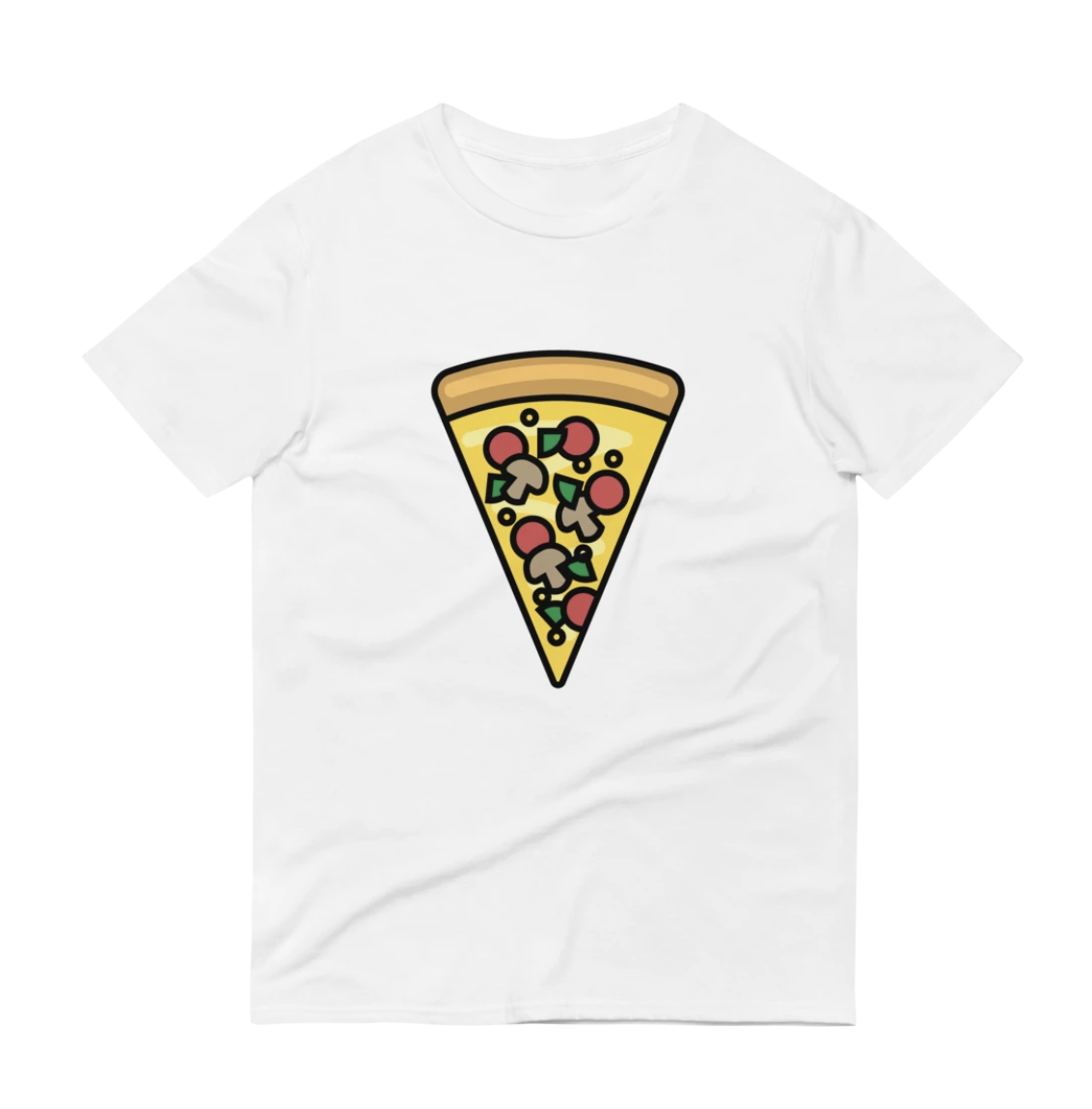 A white T-shirt with a supreme pizza design on the front