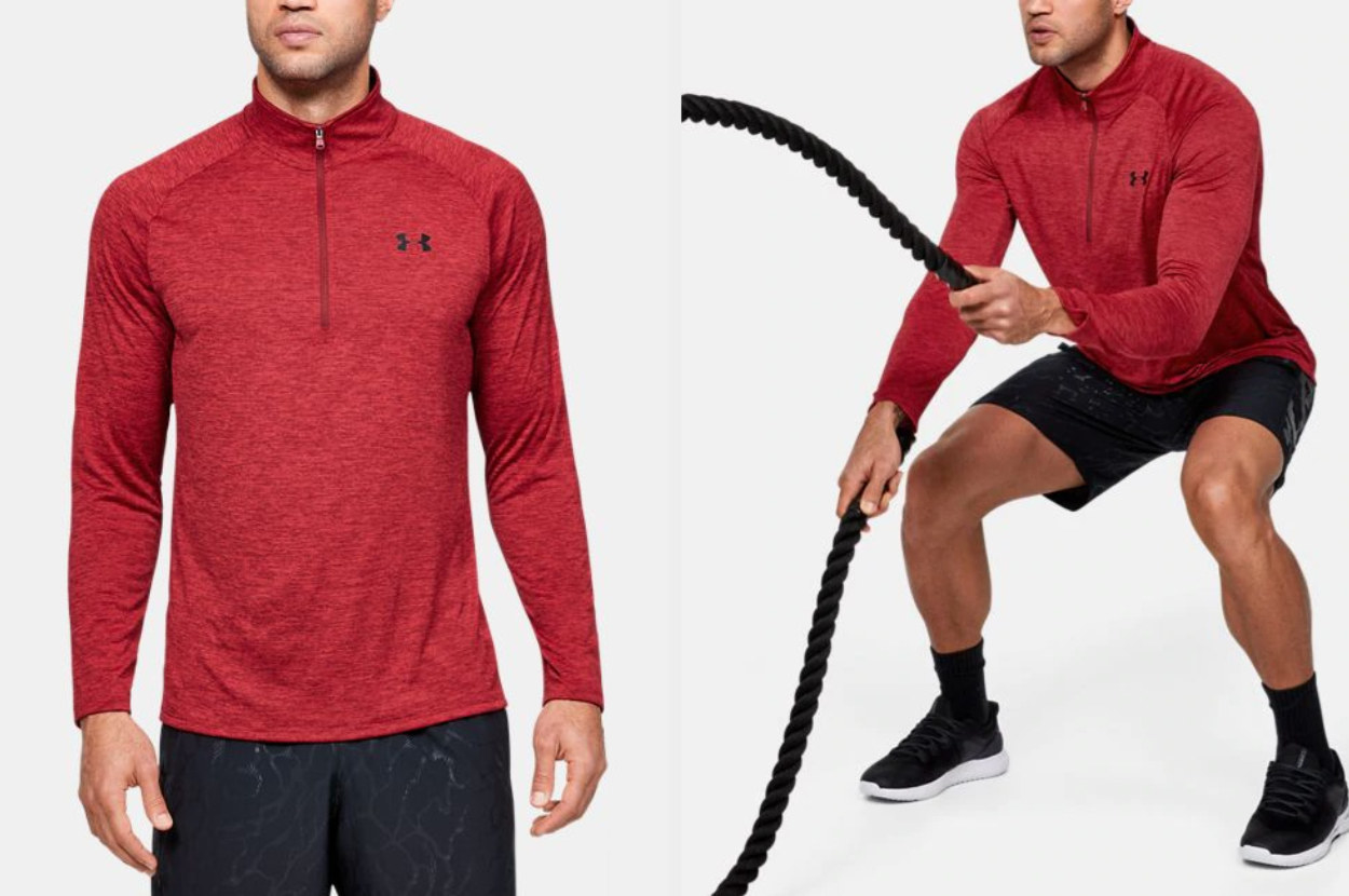 Side by side view of model wearing red pullover standing and while working out with ropes
