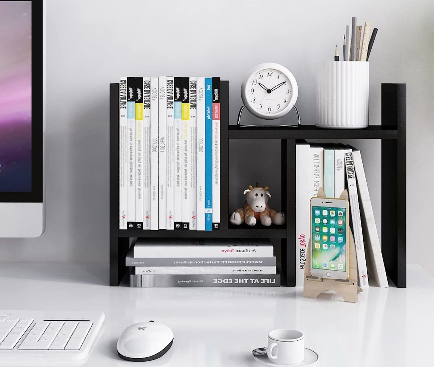 the shelving unit in black