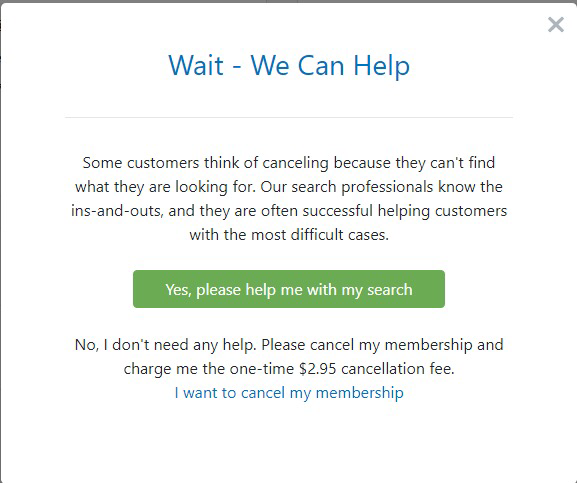 A cancellation page for a website that charges $2.95 to cancel the membership