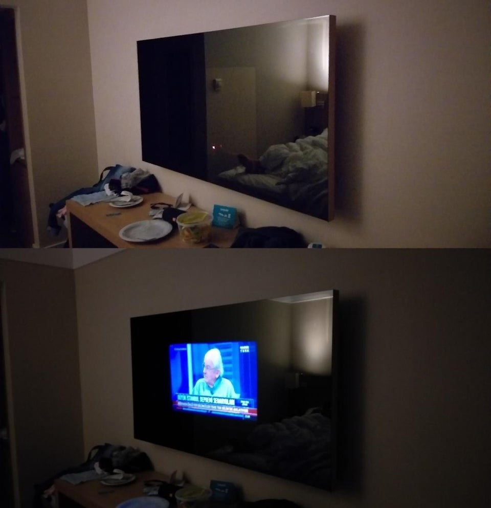 Top: a large-looking TV that is turned off, bottom: the same TV turned on, showing that the picture is much smaller than the whole screen