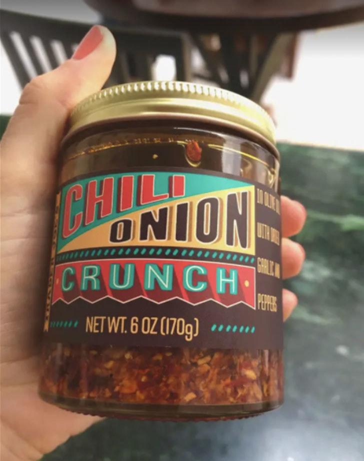 A jar of chili onion crunch