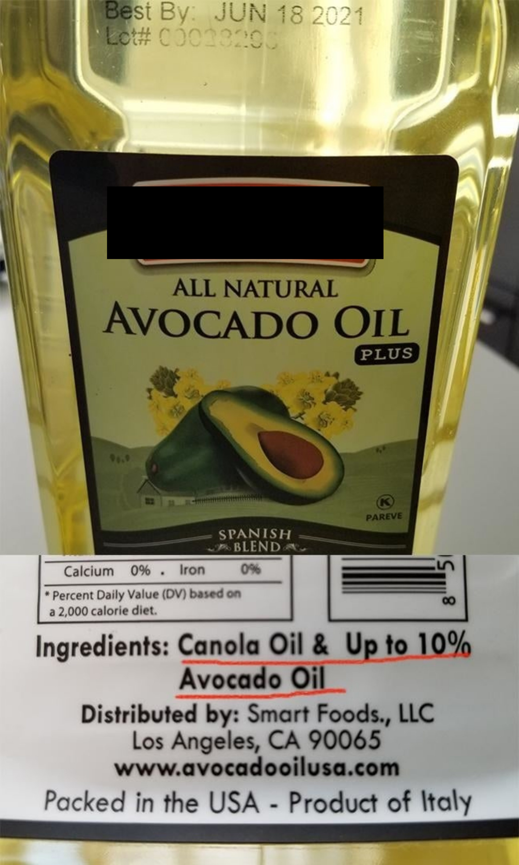 "The label on a bottle of avocado oil that reads ""ingredients: canola oil & up to 10% avocado oil"""