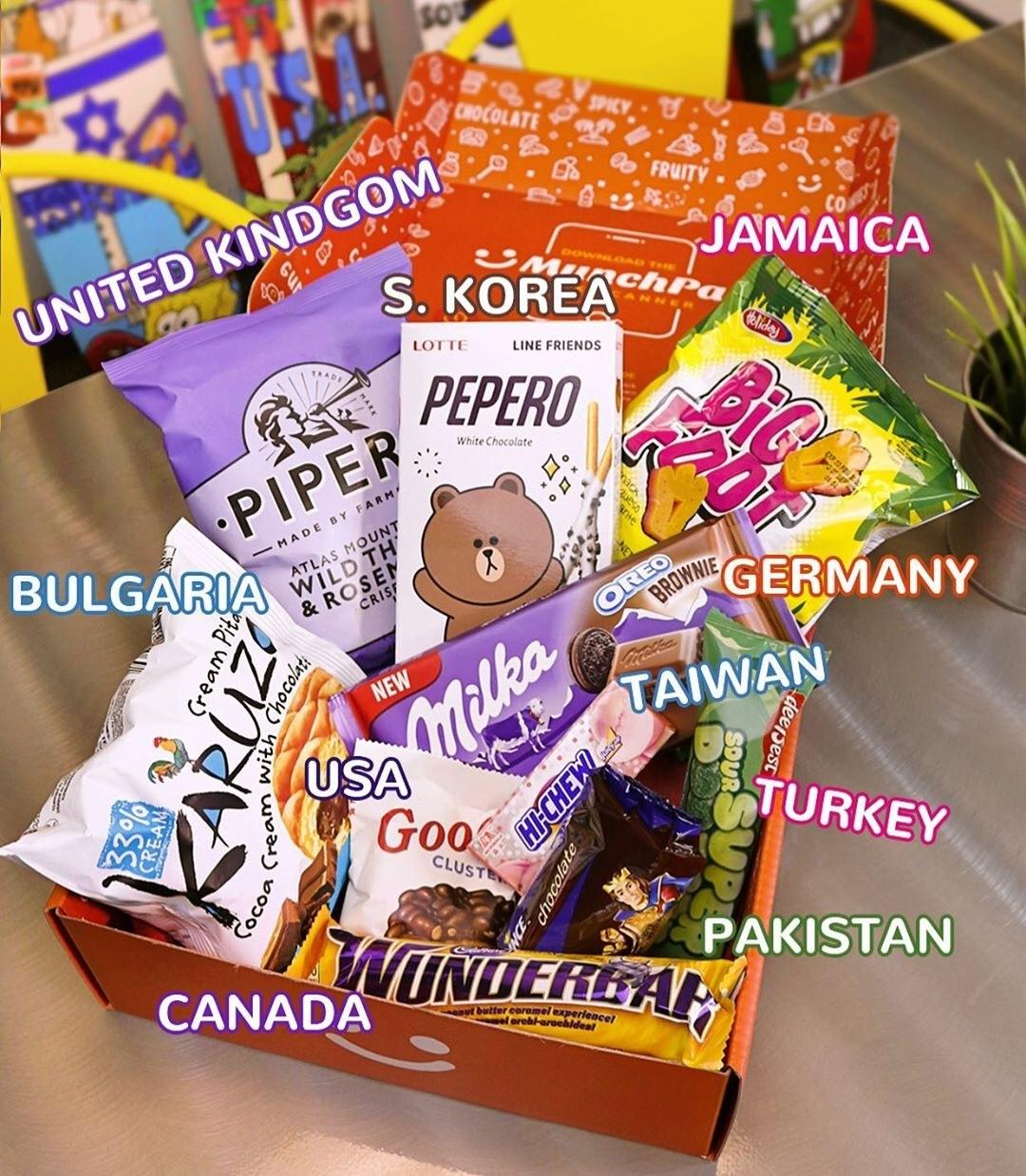 The MunchPak box containing snacks from the United Kingdom, South Korea, Jamaica, Germany, Taiwan, Turkey, Pakistan, Bulgaria, and Canada