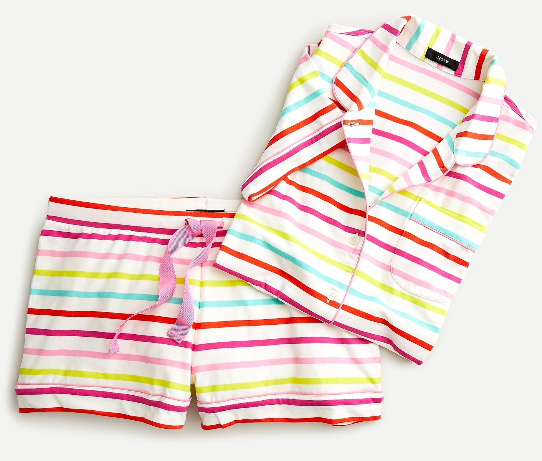 white, red, pink, lime green, and blue striped drawstring shorts and matching short-sleeve button-up shirt