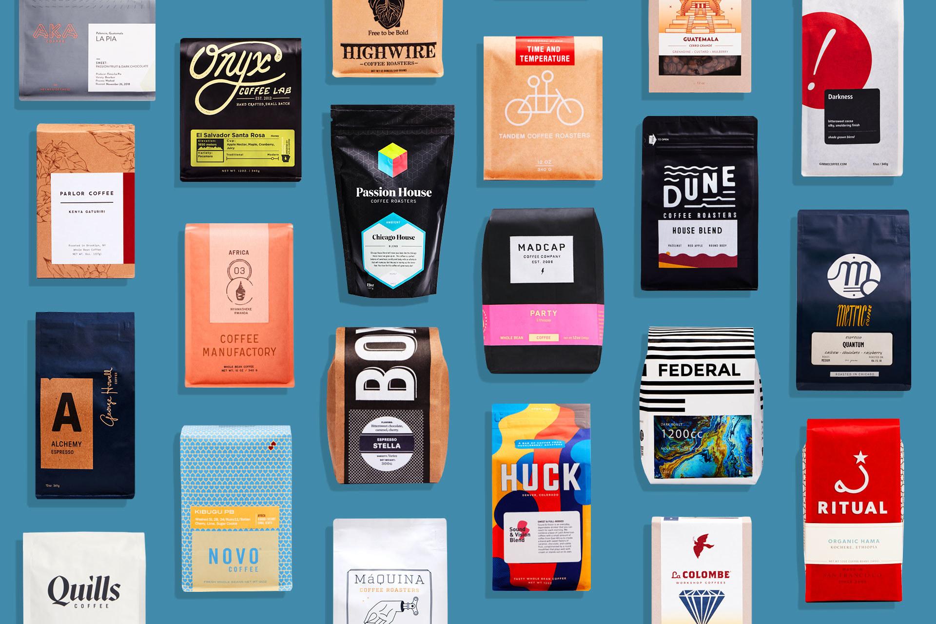 various bags of coffee