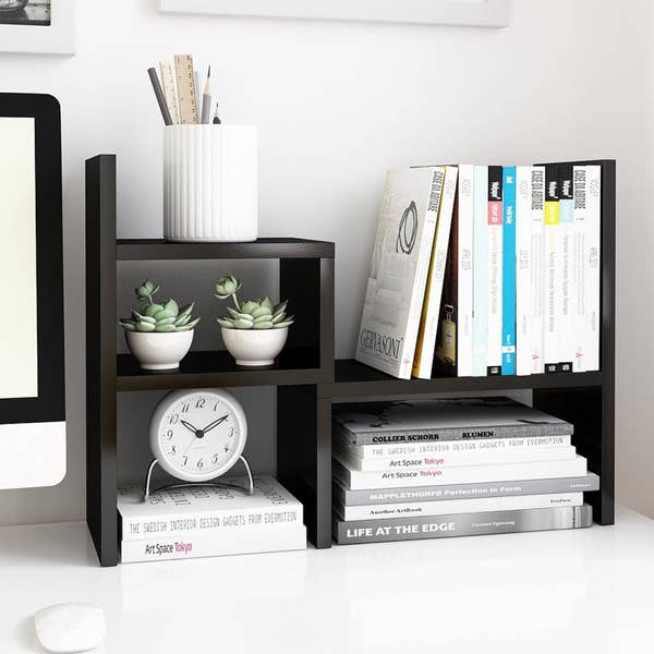 The shelf in black with books organized in two shelves on the right and small plants, a clock, and other trinkets in shelves on the left