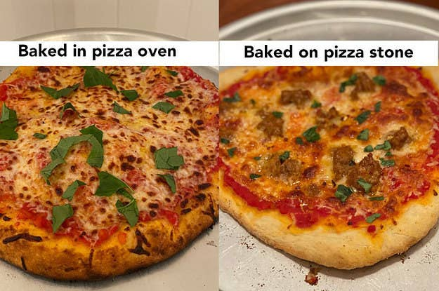 BuzzFeed Shopping member's comparison of pizza baked in a pizza oven and another pizza baked on the stone to show they have similar quality