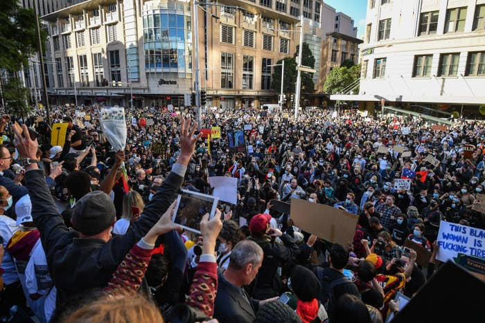 Thousands of protesters attend the Sydney protest.