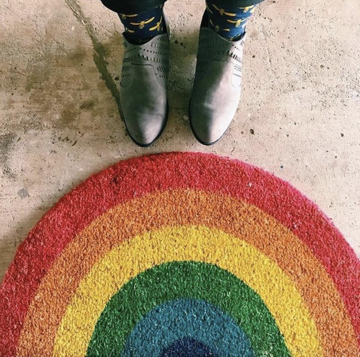 Reviewer photo of rainbow door mat