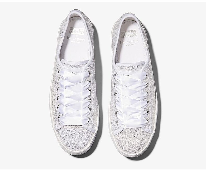 glittery white sneakers with ribbons for laces
