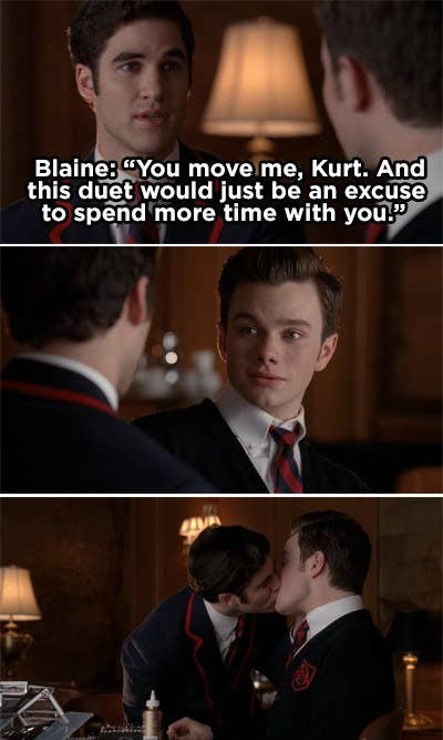 Blaine confesses his feelings to Kurt and then the two kiss
