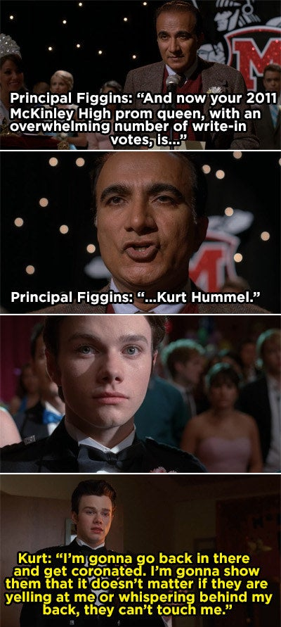 Principal Figgins announces Kurt as prom queen and Kurt tells Blaine he will stand up to his bullies