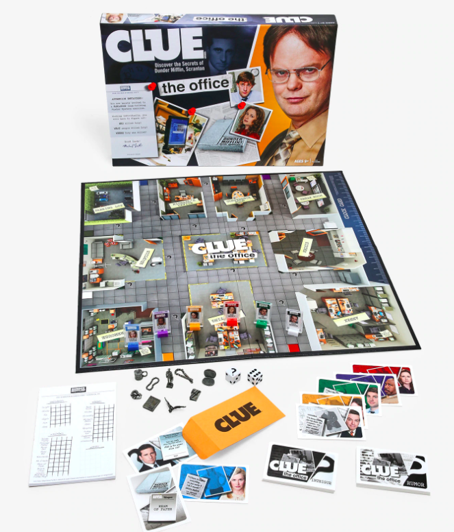 The Office-themed Clue board with Dwight on box and cards