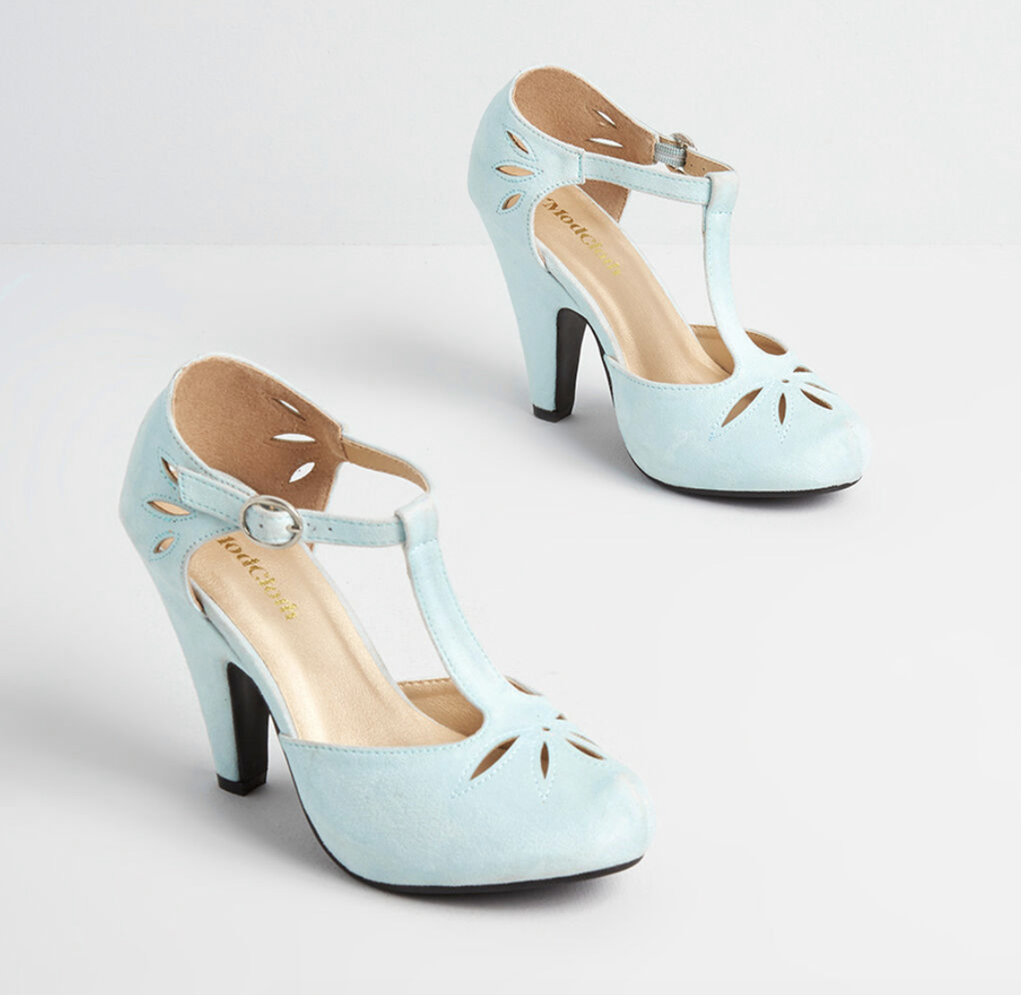 A pair of vintage T-strap high heels