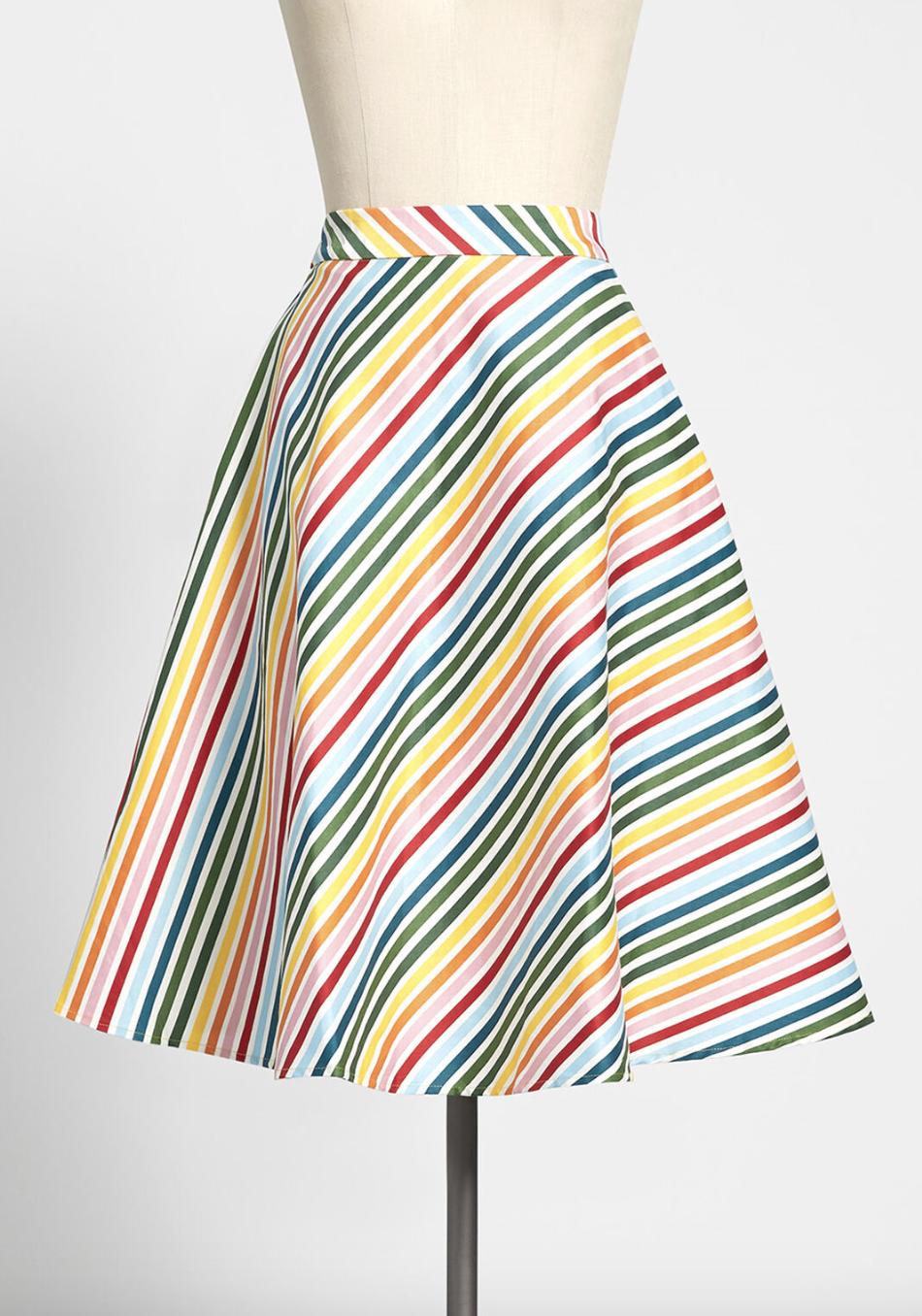 A diagonally striped mid-length rainbow skirt