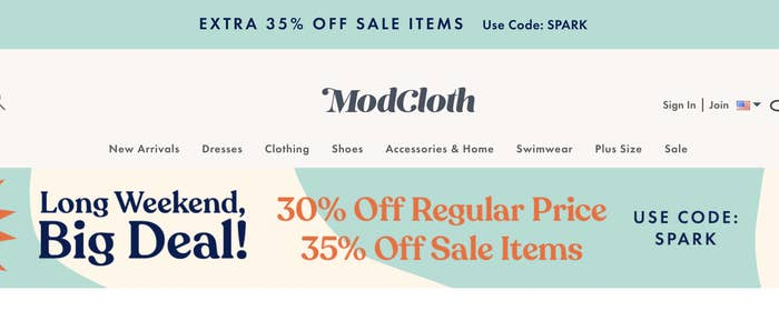 A ModCloth site banner announcing the sale