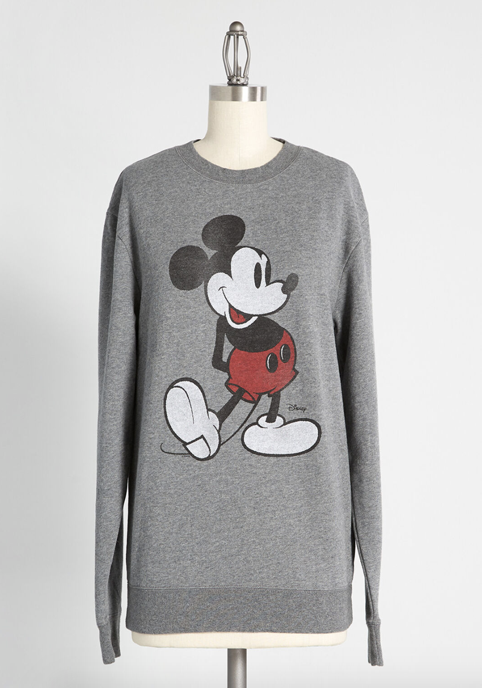 A gray sweater with a retro Mickey Mouse on it