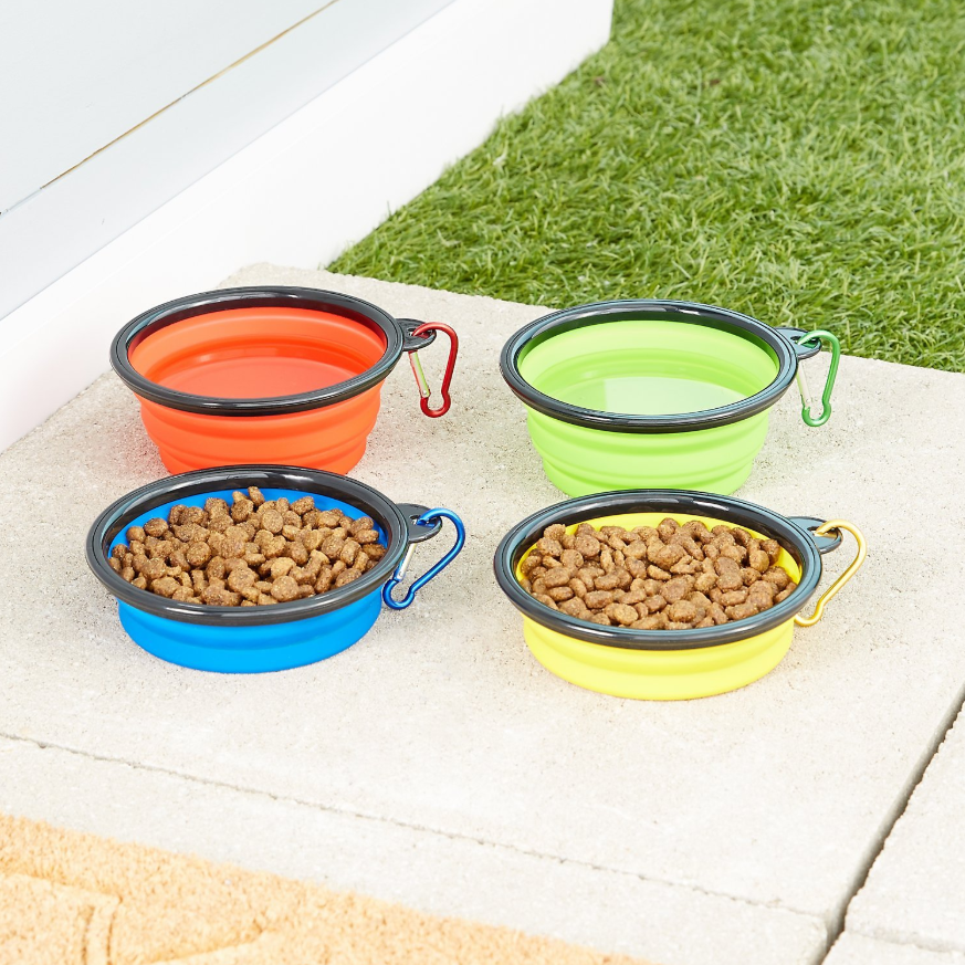 the bowls filled with pet food and water