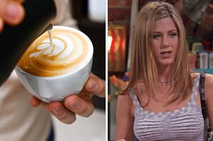 """On the left, a barista make leaf-shaped latte art with milk, and on the right Rachel from """"Friends"""""""