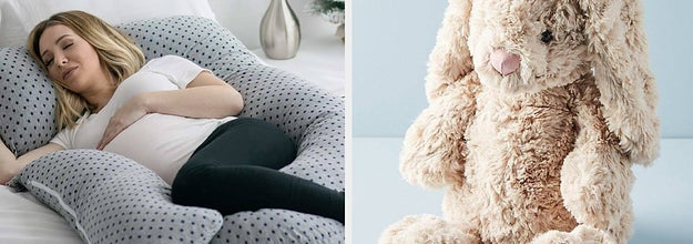 to the left: a woman laying within a body pillow, to the right: a soft plush bunny toy