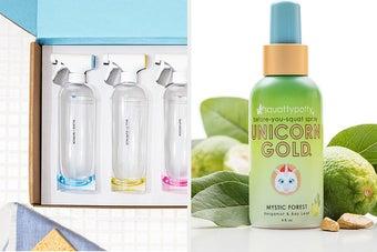 split thumbnail of refillable cleaning bottles, bottle of toilet spray