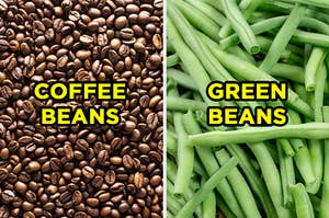 """On the left, a pile of coffee beans with """"coffee beans"""" typed on top of it, and on the right, a pile of green beans with """"green beans"""" typed on top of it"""