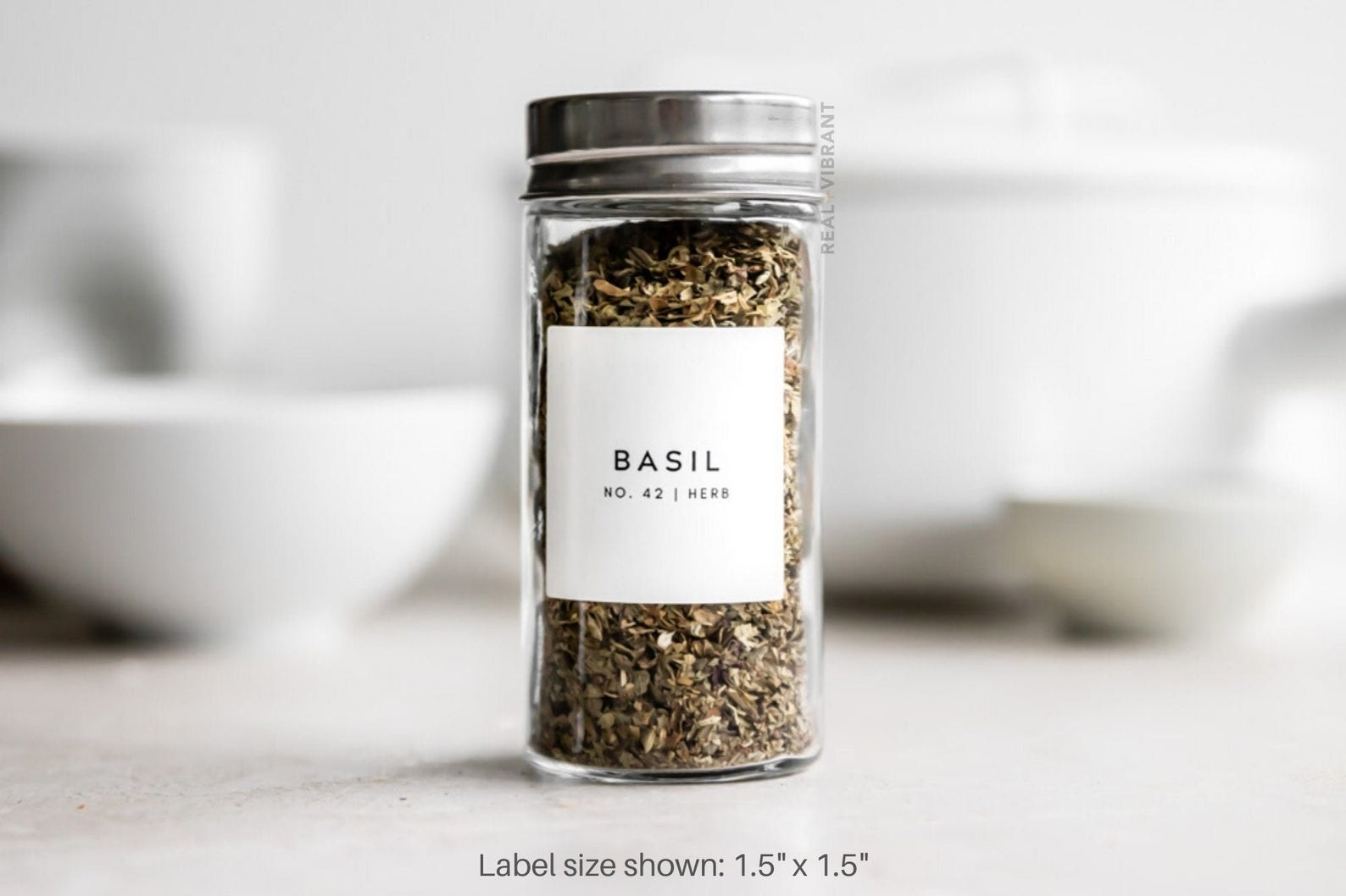 "The 1.5""x1.5"" label in ""basil"""