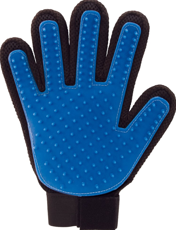 A glove with soft silicone bristles on the palm
