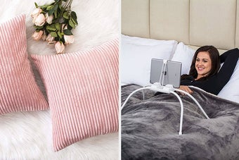 split thumbnail of light pink velvet throw pillows, person watching an ipad in bed with a hands-free holder