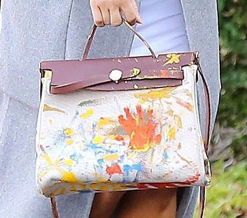 A scribbled Hermes bag covered in paint
