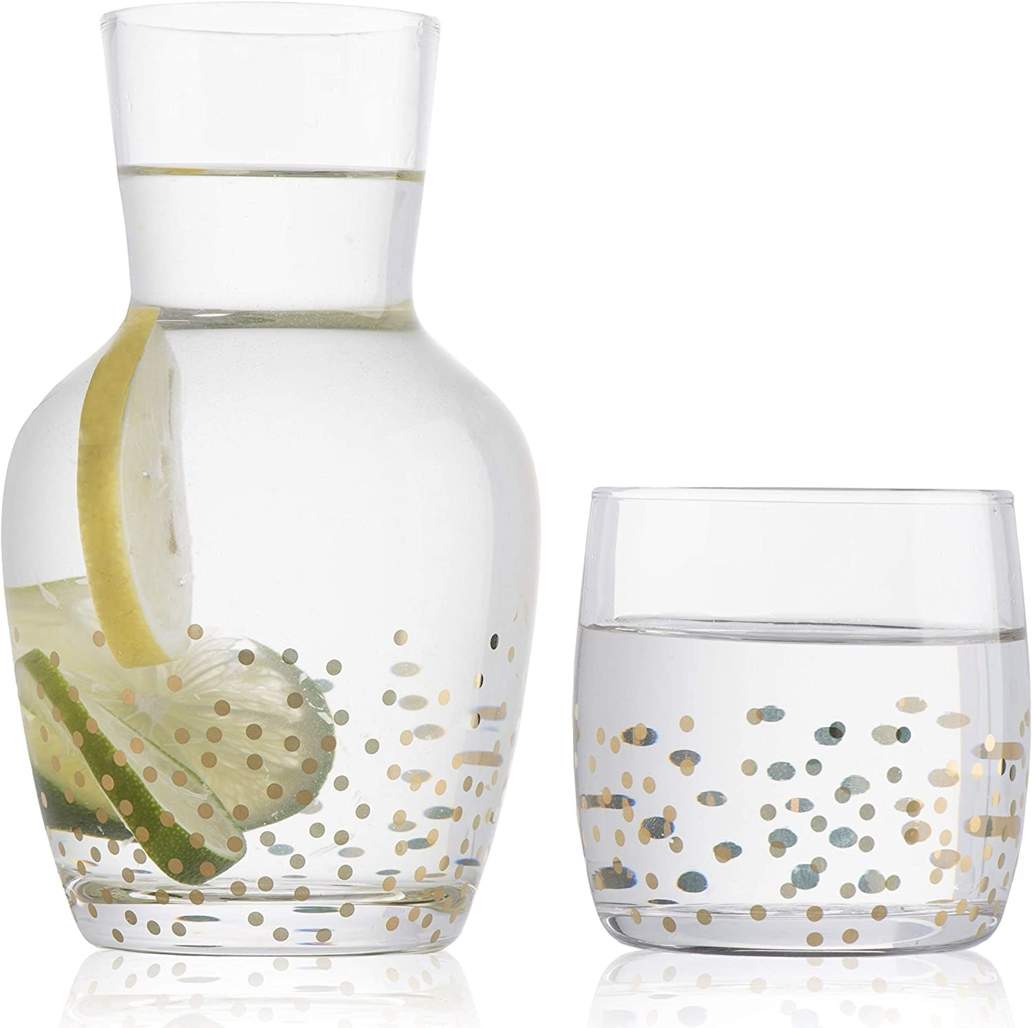 carafe and matching glass with foil gold polka dot pattern