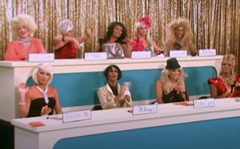 A shot of all the queens during the first Snatch Game of Season 2 of Drag Race