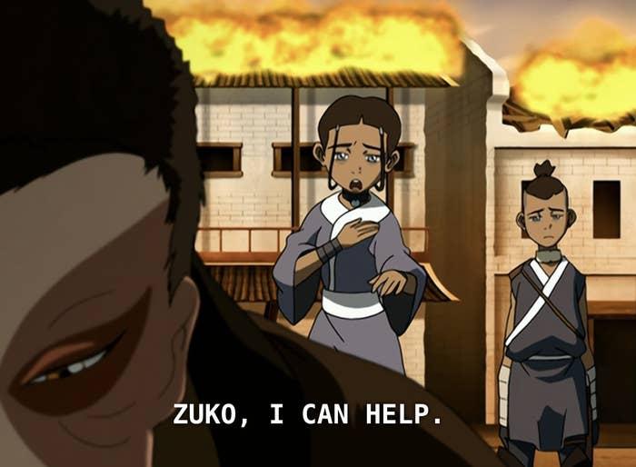 "Katara leaning toward Zuko saying, ""I can help."""