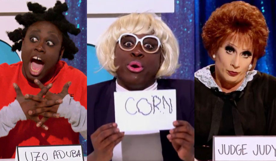 Bob the Drag Queen as Uzo Aduba and Carol Channing during Snatch Game Season 8. And Bianca Del Rio as Judge Judy during Snatch Game Season 6.