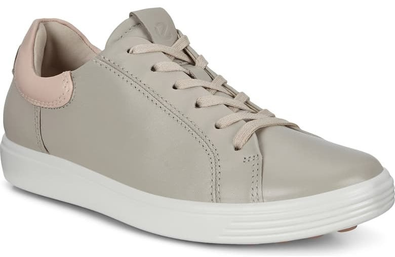 ECCO Soft 7 Street Sneaker in Gravel/Rose Dust leather colorway