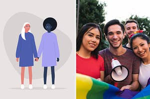 An illustration of a lesbian couple holding hands and a photo of a group of happy protestors