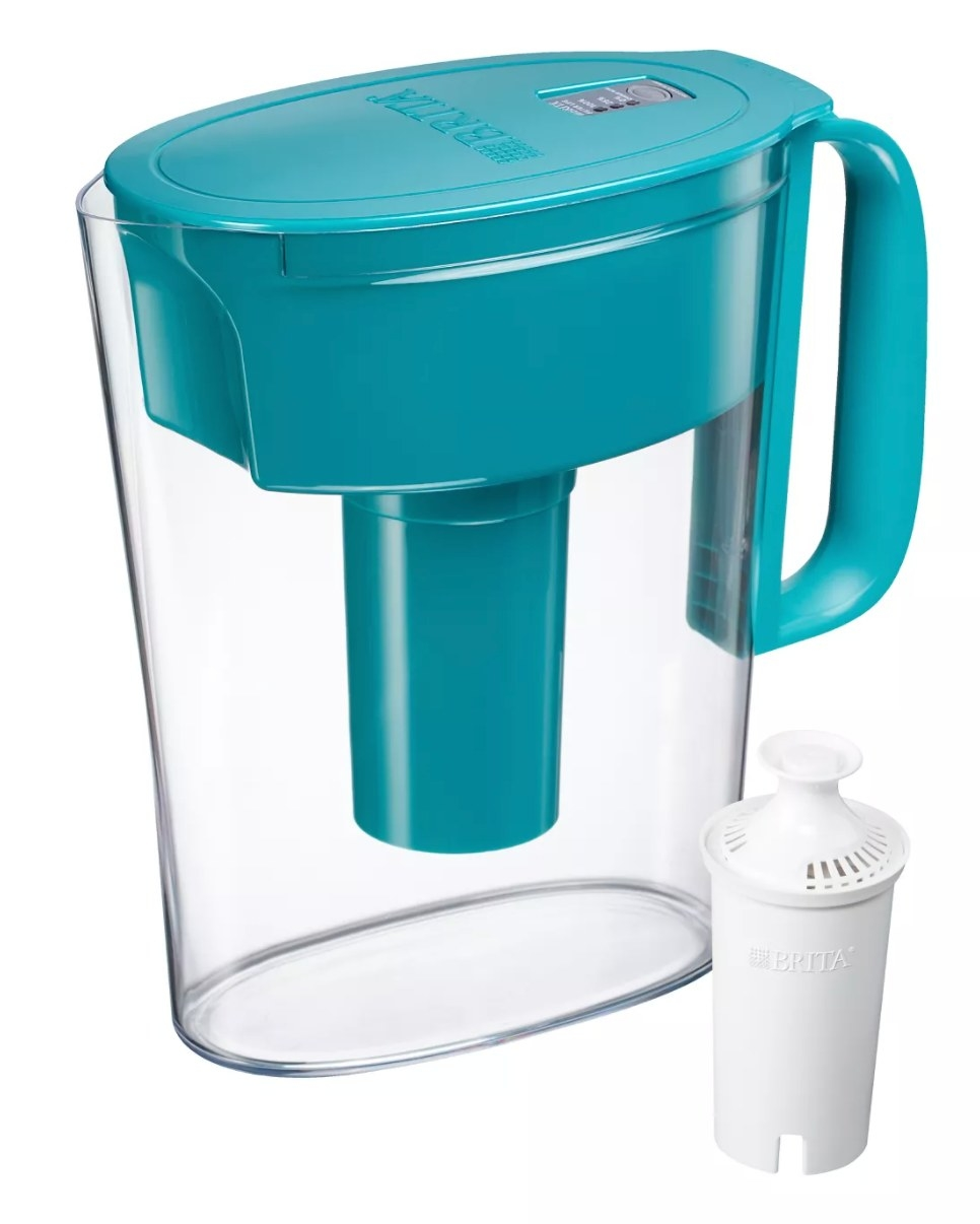 The water pitcher with a teal lid