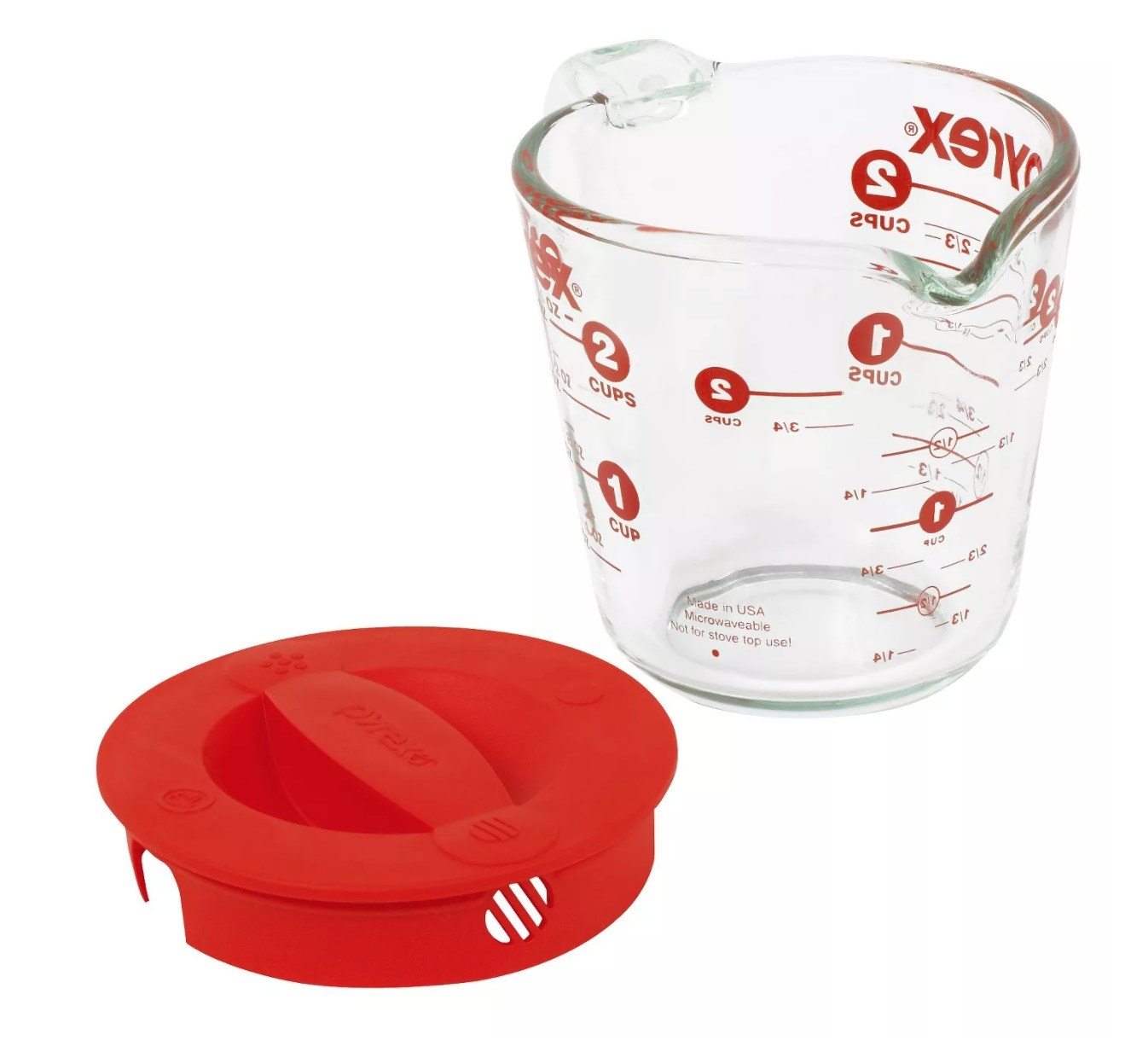 The measuring cup with a red lid
