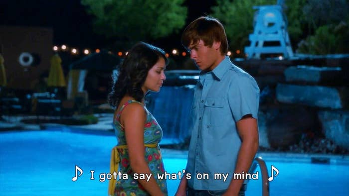 "Gabriella begins singing to Troy, ""I gotta say what's on my mind"""