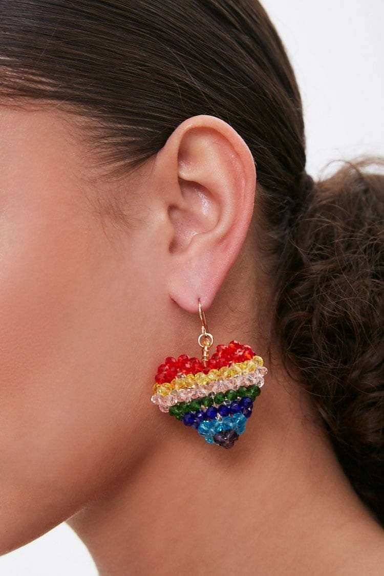 Model wearing the earrings