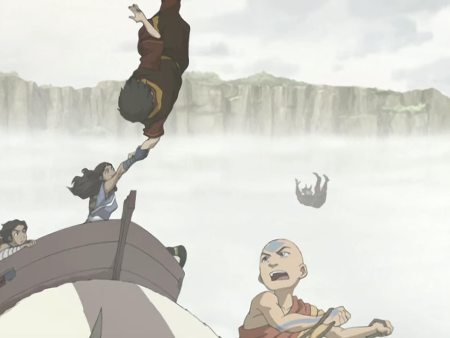 Katara grabbing Zuko's hand and saving him from falling to his death.