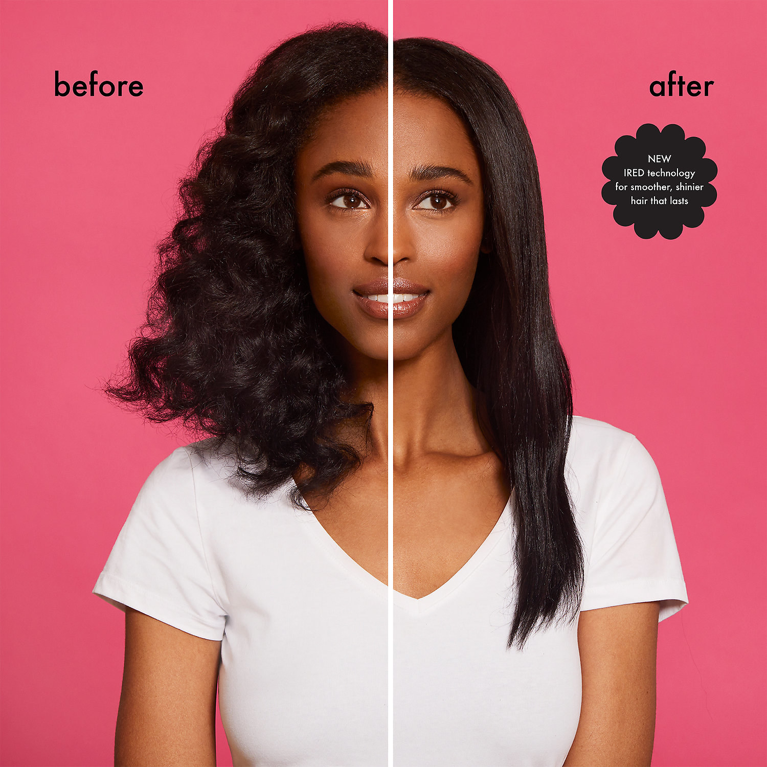 before-and-after photo of model with curly hair on the left, and straight hair on the right