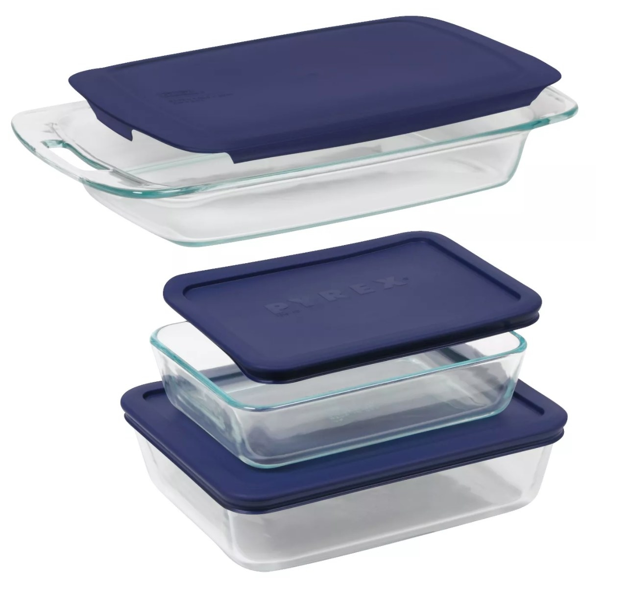 The three glass dishes with blue lids